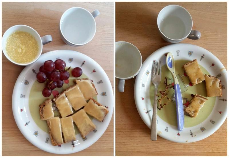 Frühstück: Vollkornbrot mit Mandelmus und Apfel-Birnenmus, Weintrauben, Mango-Kokossmoothie und Wasser