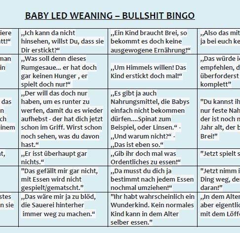 baby led weaning bullshit bingo