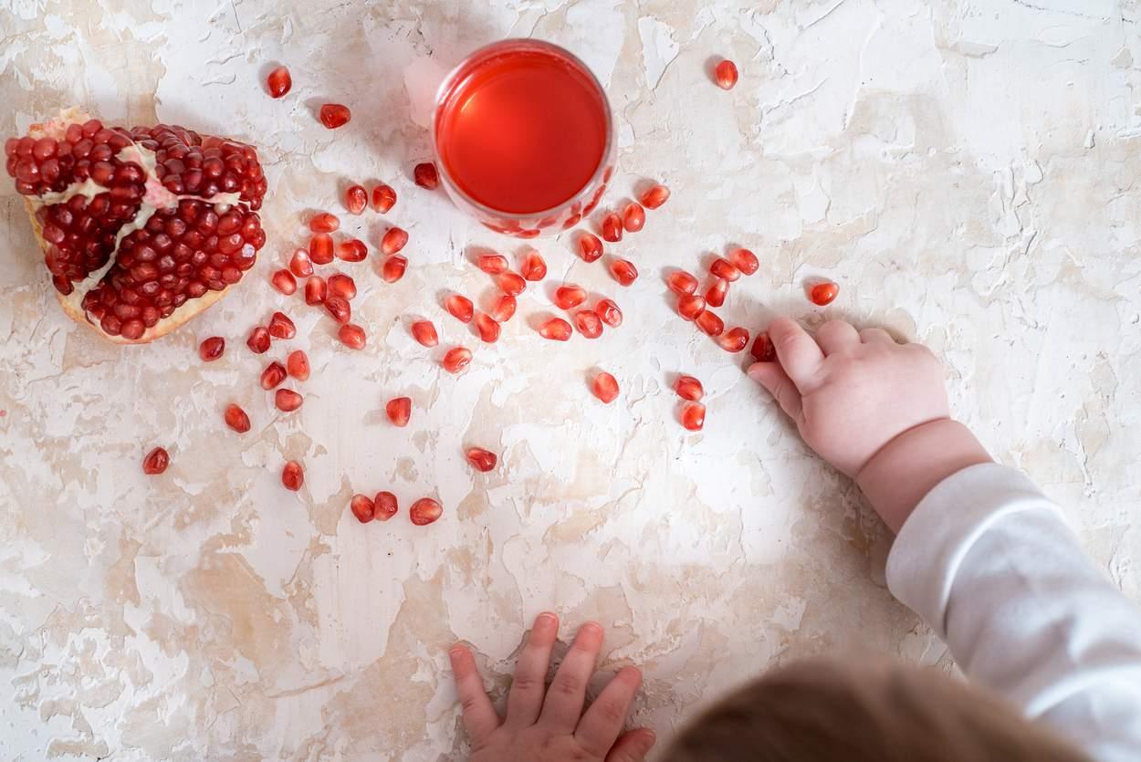Baby Teppich Hand Granatapfel Kerne